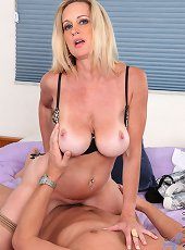 Amateur mature removes panties to rub her pussy